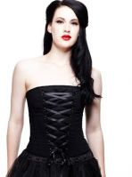 Hell Bunny Black Gothic Sam Corset Steel Bone