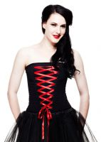 Hell Bunny Black and Red Gothic Sam Corset Steel Bone
