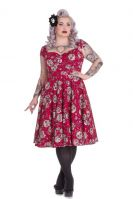 Hell Bunny Plus Size Gothic Red Day of the Dead Sasha Dress