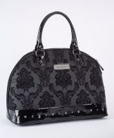 Rock Rebel Large Madame Black Midnight Victorian Damask Studded Overnight Bag