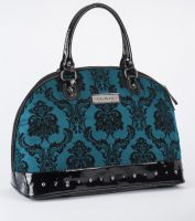 Rock Rebel Large Madame Bayou Blue Victorian Damask Studded Overnight Bag