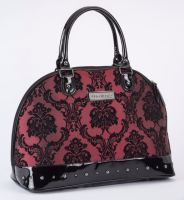 Rock Rebel Large Madame Red Merlot Victorian Damask Studded Overnight Bag