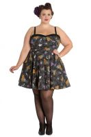 Hell Bunny Plus Size Gothic Black Spiderweb Bats Halloween Harlow Mini Dress