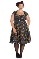 Hell Bunny Plus Size Gothic Black Spiderweb Bats Halloween Harlow 50's Dress