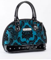 Rock Rebel Mini Madame Bayou Blue Victorian Damask Studded Purse Handbag