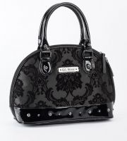 Rock Rebel Mini Madame Midnight Black Victorian Damask Studded Purse Handbag