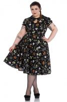Hell Bunny Plus Size Gothic Halloween Black Cat Salem Witch 50's Dress