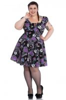 Hell Bunny Plus Size Gothic Purple & Black Skeleton Graciela Mini Dress