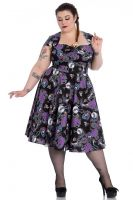 Hell Bunny Plus Size Gothic Purple & Black Skeleton Graciela 50's Dress