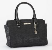 Rock Rebel Embossed Sugar Skull Black Handbag Purse