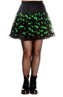 Hell Bunny Black and Green Lace Gothic Bat Skirt