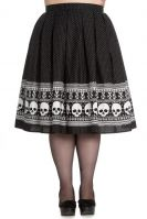 Hell Bunny Plus Size Black & White Halloween Skull Gothic Clara Skirt