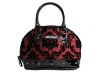 Rock Rebel Margaux Victorian Damask Studded Purse Handbag in Red