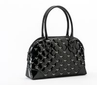 Rock Rebel Black Mina Quilted Handbag with Bats Purse by GG Rose
