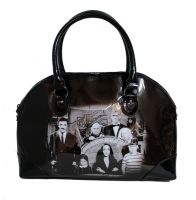 Rock Rebel Black Vegan Vinyl Addams Family Purse Handbag