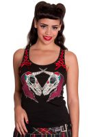 Hell Bunny Gothic Black & Red Unicorn Corset Tank Vest