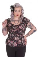 Hell Bunny Plus Size Black Rockabilly Skull Love Top