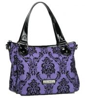 Rock Rebel Violet Purple Vixen Day Bag Victorian Damask Purse Handbag