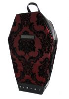 Madame Mistress Damask Burgundy Red PVC Coffin Backpack by Rock Rebel