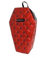 Lucy Red Quilted PVC Coffin Backpack with Spiders by Rock Rebel