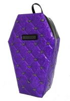 Mina Purple Quilted PVC Coffin Backpack with Bats by Rock Rebel