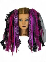 Hot Pink and Black Gothic Ribbon Hair Falls by Dreadful Falls