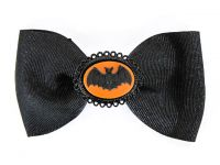 Hairy Scary Black Bow w Orange & Black Bat Cameo Jezebow Hair Clip