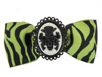 Hairy Scary Green & Black Zebra Bow w Haunted Mansion Cameo Jezebow Hair Clip