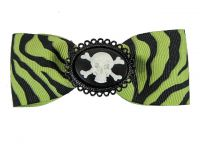 Hairy Scary Green & Black Zebra Bow w Skull & Crossbones Cameo Jezebow Hair Clip