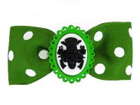Hairy Scary Green & White Polkadot Bow w Haunted Mansion Cameo Jezebow Hair Clip
