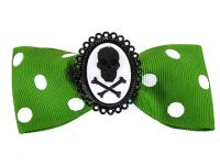 Hairy Scary Green & White Polkadot Bow w Skull & Crossbones Cameo Jezebow Hair Clip