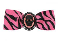 Hairy Scary Pink & Black Zebra Bow w Skull Cameo Jezebow Hair Clip
