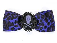 Hairy Scary Purple Leopard Bow w Purple Skull & Crossbones Cameo Jezebow Hair Clip