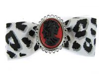 Hairy Scary White & Black Cheetah Bow w Victorian Skull Cameo Jezebow Hair Clip