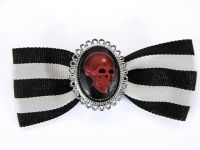 Hairy Scary Black & White Striped Bow w Red Skull Cameo Jezebow Hair Clip
