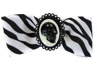 Hairy Scary White & Black Zebra Bow w Skull Cameo Jezebow Hair Clip