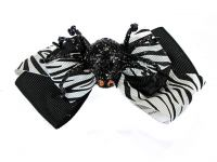 Hairy Scary Black & White Zebra Bow w Lrg Black Spider Jezebow Hair Clip