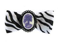Hairy Scary White & Black Zebra Bow w Purple Victorian Skull Cameo Jezebow Hair Clip