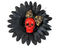 Hairy Scary Black & Red Skull & Leopard Bow Hairlot Skull Hair Clip