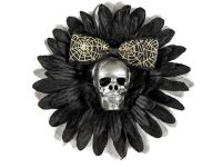 Hairy Scary Black & Silver Skull & Spiderweb Bow Hairlot Skull Hair Clip