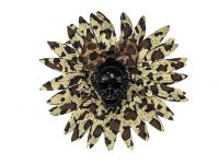 Hairy Scary Cheetah & Black Skull & Leopard Bow Hairlot Skull Hair Clip