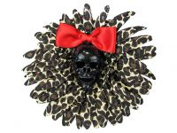 Hairy Scary Leopard & Black Skull & Red Bow Hairlot Skull Hair Clip