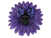 Hairy Scary Purple & Black Skull & Purple Zebra Bow Hairlot Skull Hair Clip