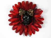 Hairy Scary Red N Black & Black Skull & Leopard Bow Hairlot Skull Hair Clip