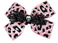 Hairy Scary Pink Leopard Double Bow Skull w Black Skeleton Hands Skulleton Hair Clip