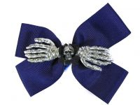 Hairy Scary Purple Double Bow Skull w Silver Skeleton Hands Skulleton Hair Clip