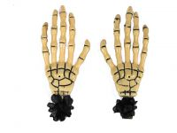 Hairy Scary Bone Skeleton Halloween Hades Hands w Black Hair Clip Set