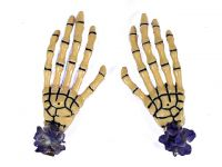 Hairy Scary Bone Skeleton Halloween Hades Hands w Purple Hair Clip Set