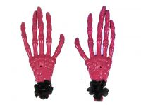 Hairy Scary Pink Skeleton Halloween Hades Hands w Black Hair Clip Set