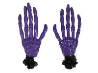 Hairy Scary Purple Skeleton Halloween Hades Hands w Black Hair Clip Set